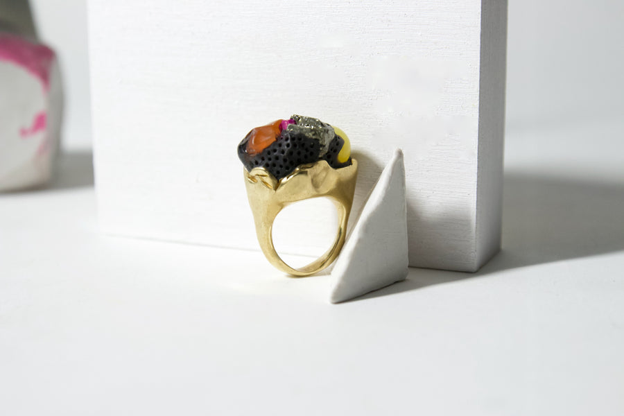 Unique Handcrafted Brass Ring with Jade, Carnelian and Pyrite by Gré