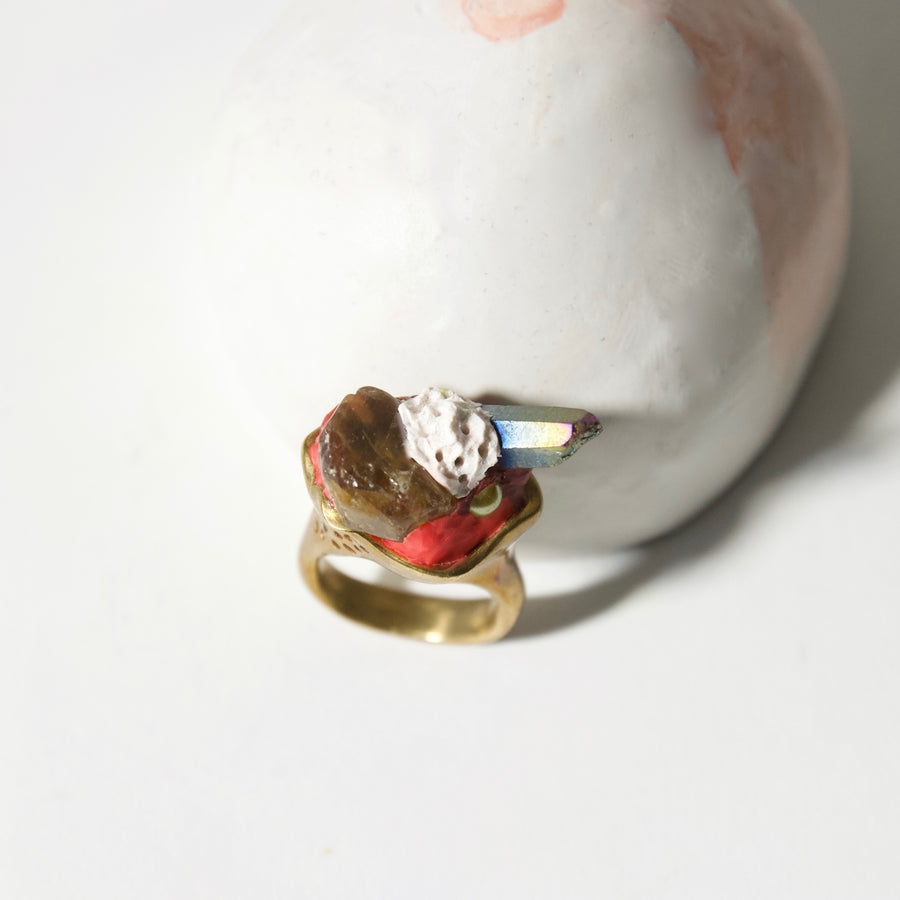 Handcrafted Solid Brass Ring by Gré - Green Garnet and Rainbow Quartz