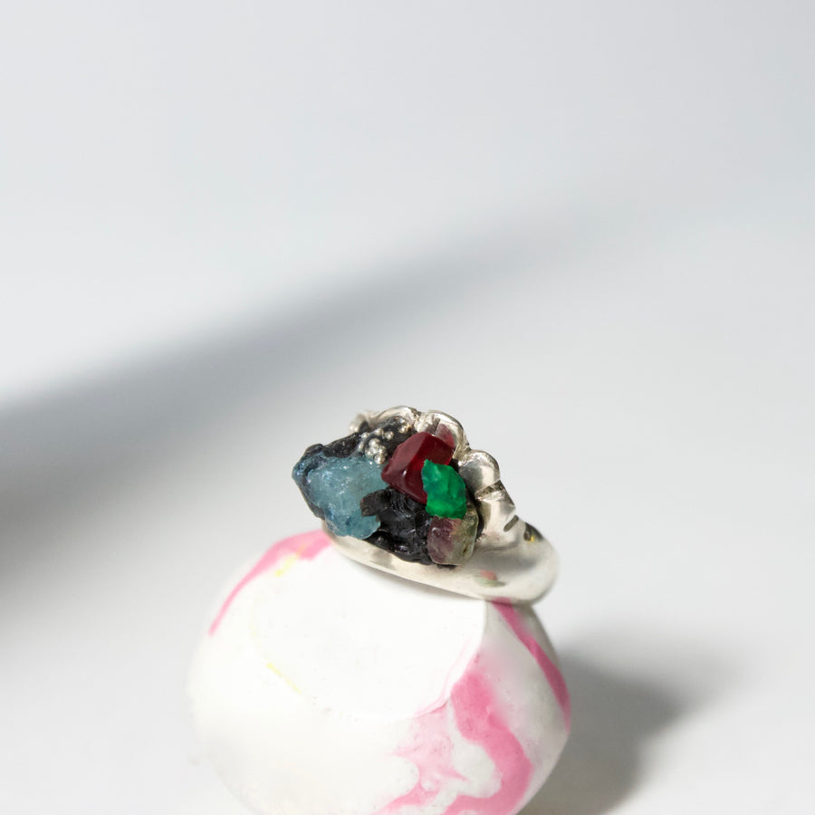 Unique Handcrafted Sterling Silver Ring by Gré with Apatite, Garnet and Rainbow Tourmaline