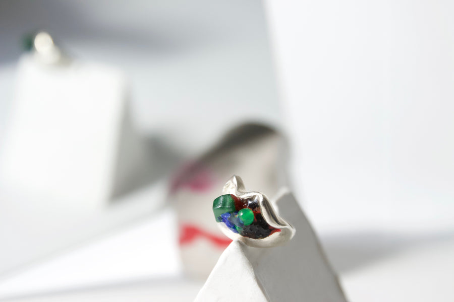 Handcrafted Sterling Silver Ring by Gré with Green Agate and Jade