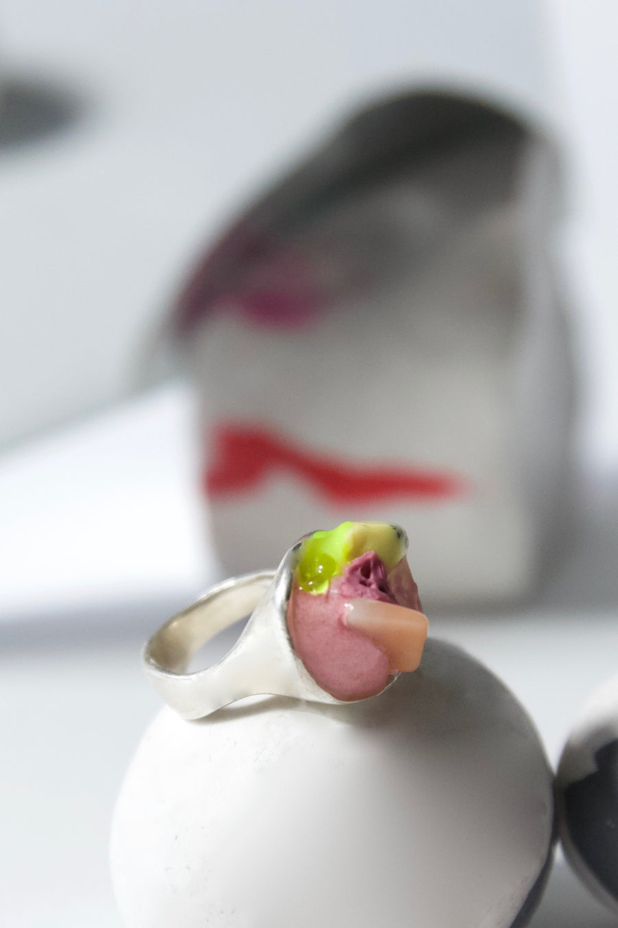 One-of-A-Kind Handcrafted Sterling Silver Pink Pinky Ring by Gré with Aventurine and Jasper