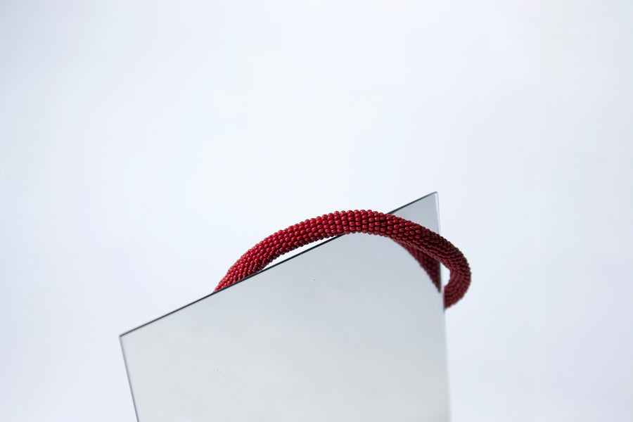 Handmade Cord Necklace in Burgundy Red by Gré