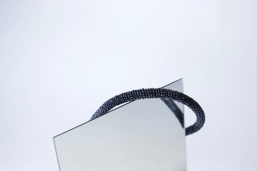 Handmade Cord Necklace in Gunmetal Blue by Gré