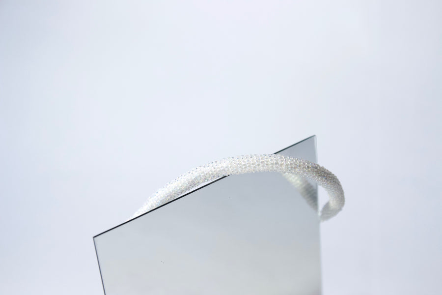 Handmade Cord Necklace in Snowflake White by Gré