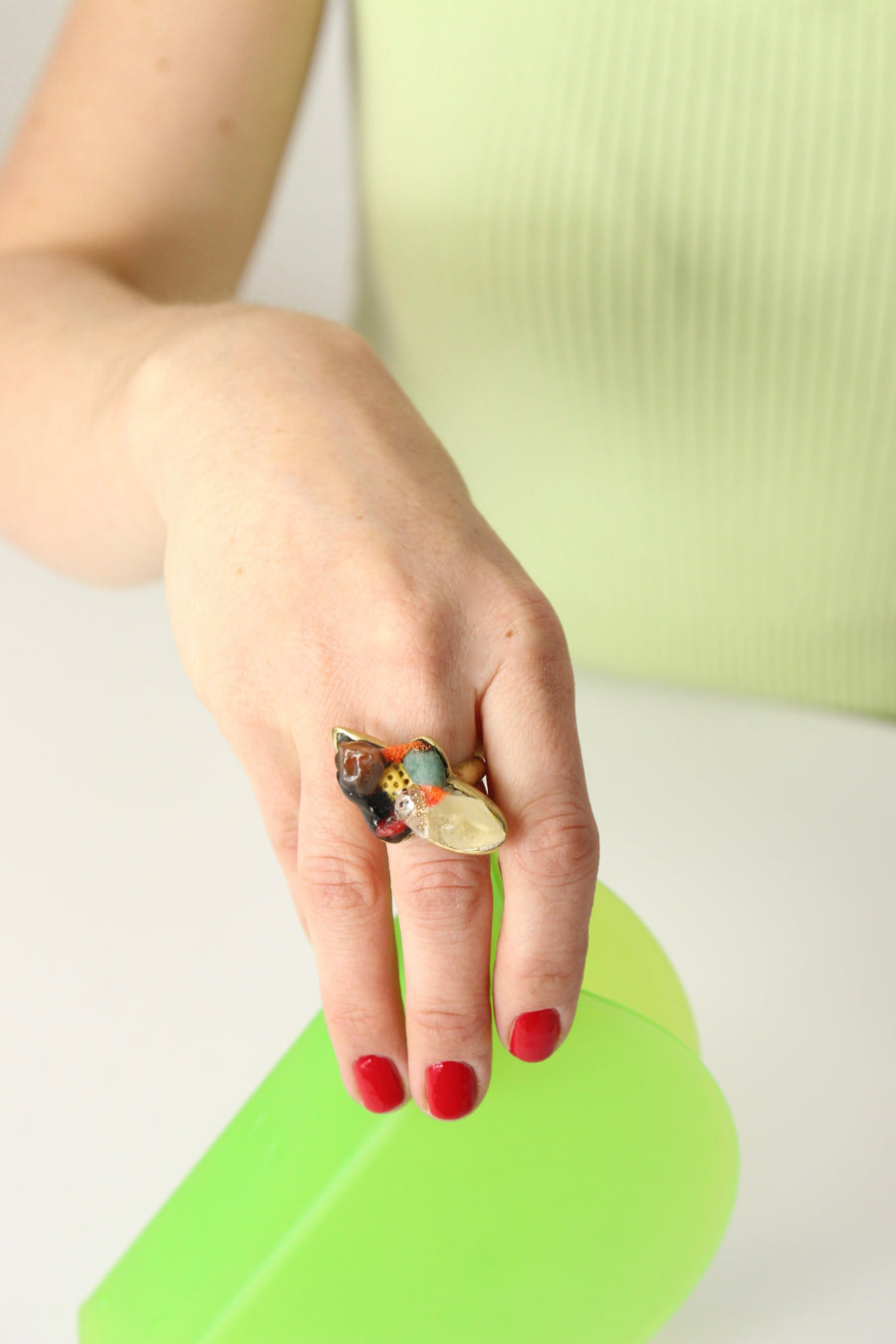 Handcrafted Brass Ring by Gré with Citrine, Carnelian and Apatite