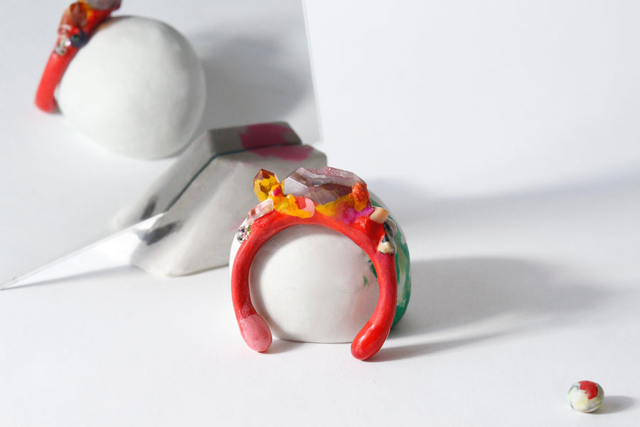 Handcrafted One-of-a-kind Cuff Bracelet in Scarlet by Gré with Agate, Pink aventurine, Dalmatian stone and Quartz