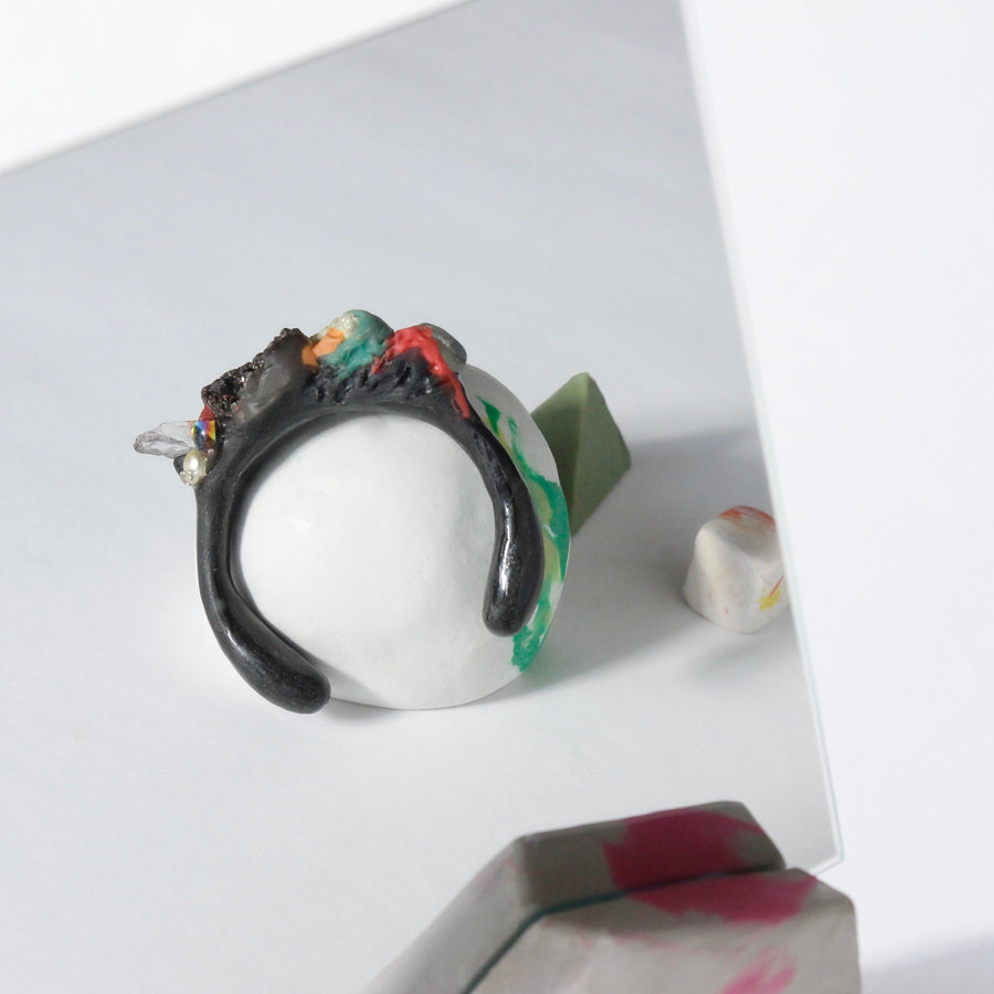 Handcrafted One-of-a-kind Cuff Bracelet in Black by Gré with Quartz and Prehnite
