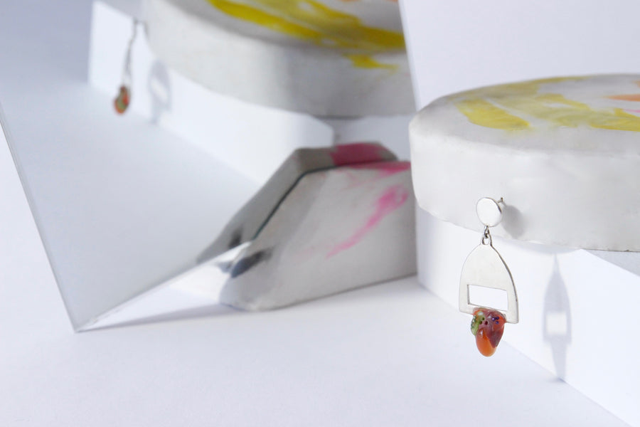 Berry Kiss Earings - Handcrafted Dangling Earrings by Gré with Carnelian