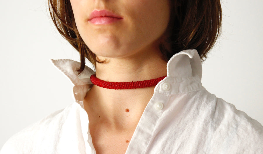 Handmade Cord Necklace in Crimson by Gré