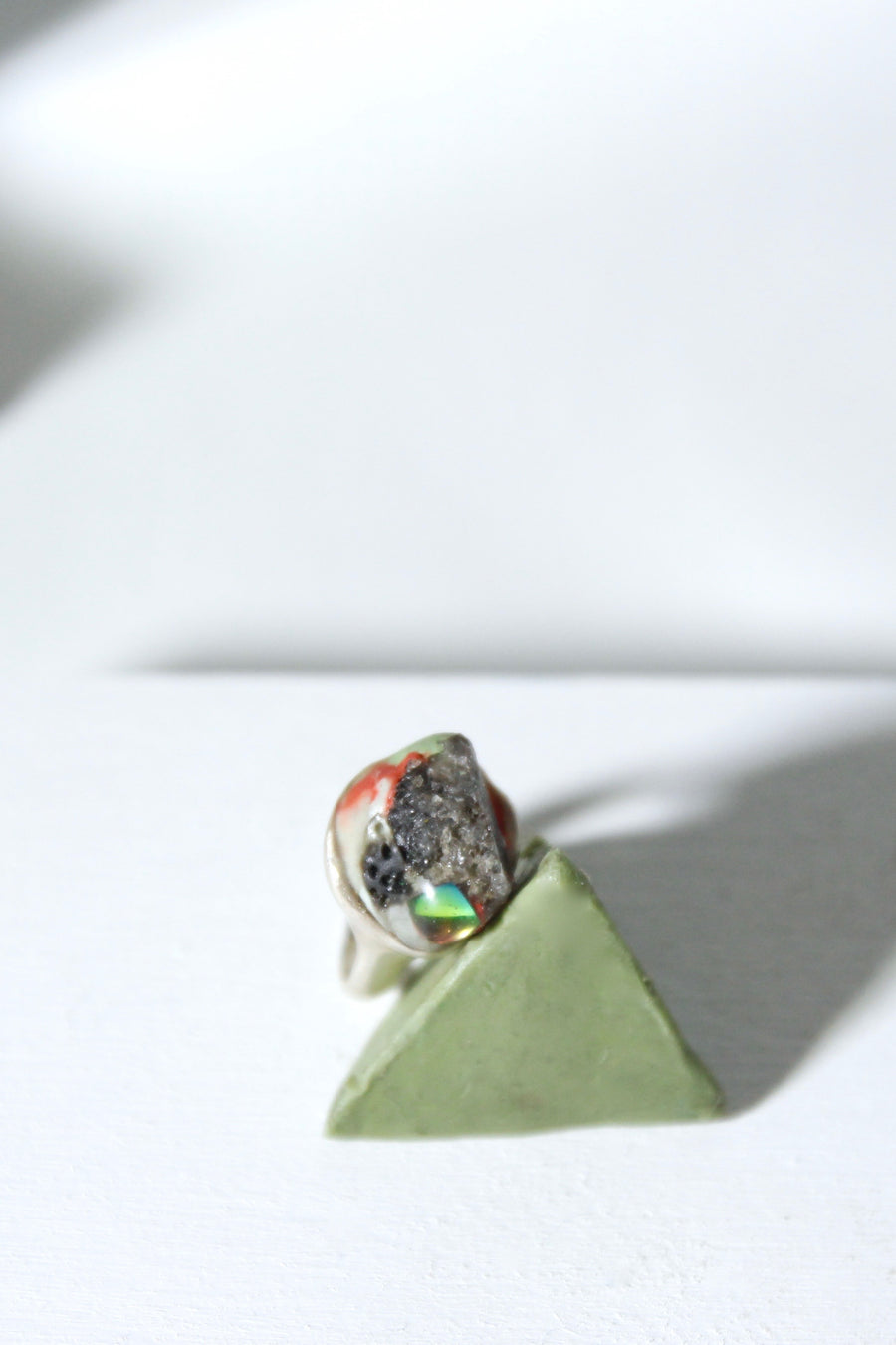 Smokey rainbow pinky ring