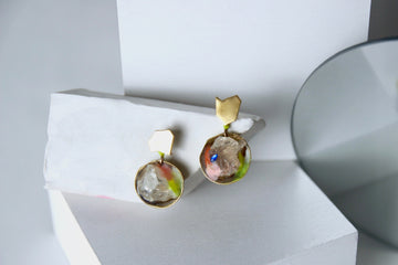 Unique Handcrafted Statement Earrings by Gré with Brass and Citrine
