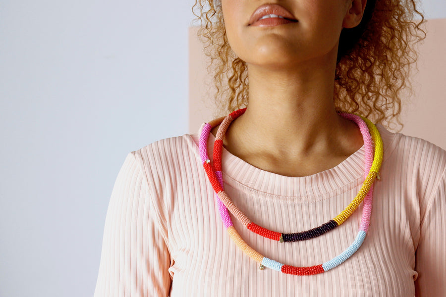 Loop necklace in popsicle rainbow