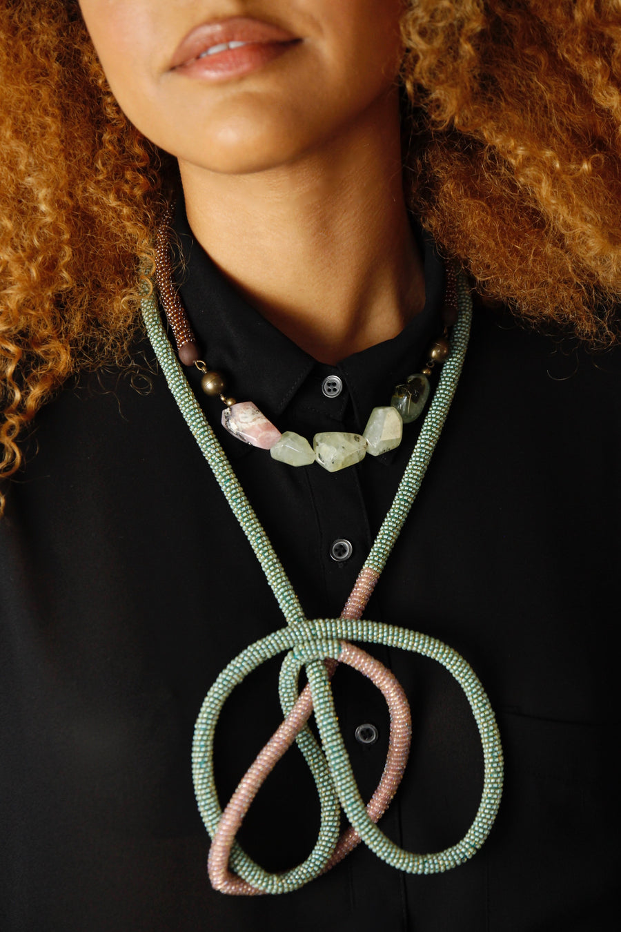 Loop necklace in teal-lilac duo