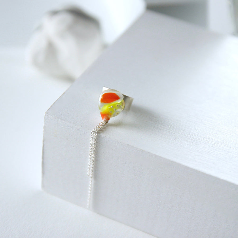 Unique Handcrafted Dangling Ear Cuff by Gré in citrus colours with sterling silver