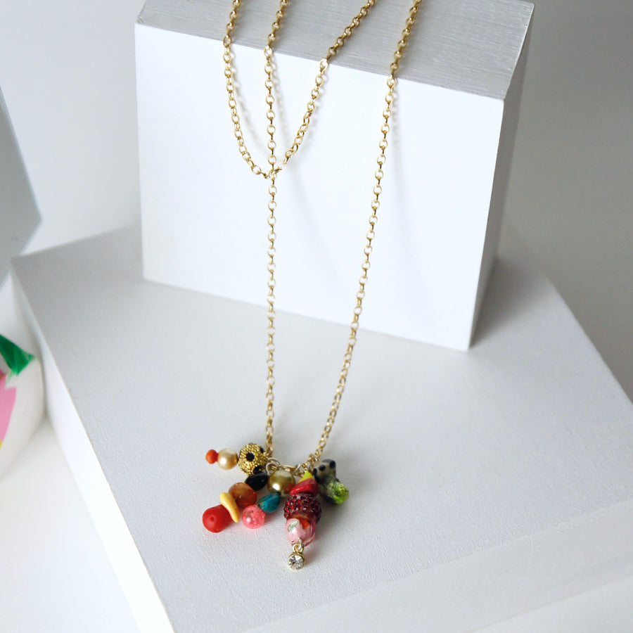 Unique Gold Plated Chain Necklace in Multicolor Gem Stones by Gré with Dalmatian stone, pyrite, agate, carnelian, jasper, turquoise