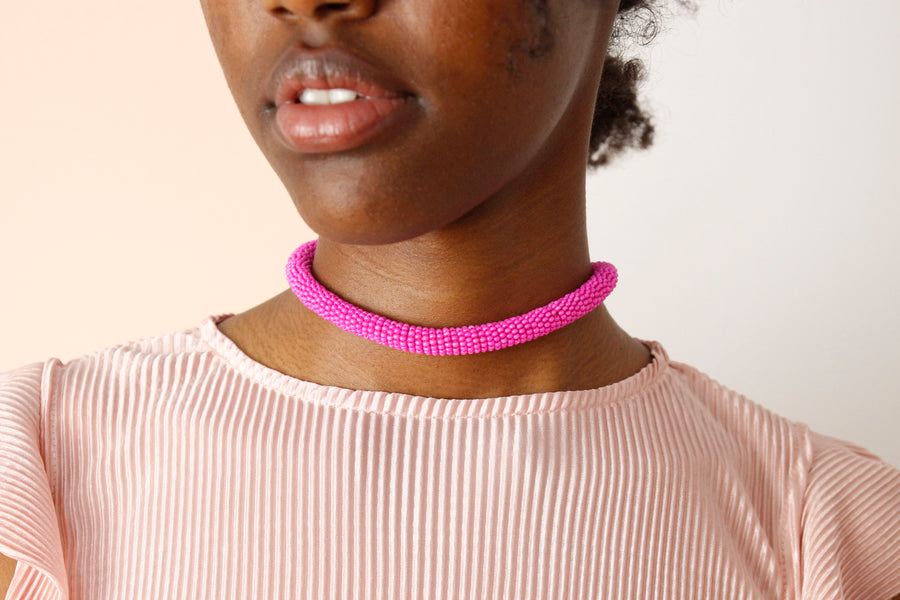 Handmade Cord Necklace in Candy Pink by Gré