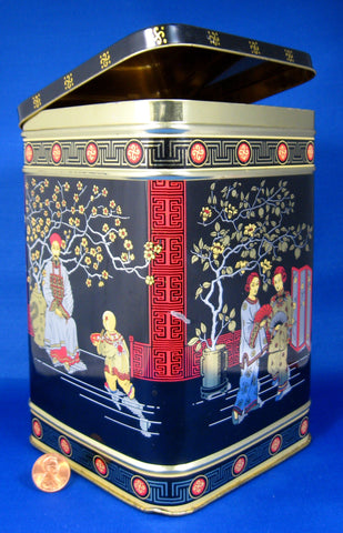 Square English Tea Tin Caddy Oriental Design Biscuit Tin 1930s Oriental Design - Antiques And Teacups - 1