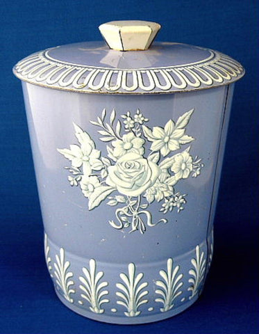 Tea Tin Tea Caddy Blue And White Canister Biscuit Tin 1950s England - Antiques And Teacups - 1