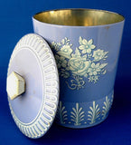 Tea Tin Tea Caddy Blue And White Canister Biscuit Tin 1950s England - Antiques And Teacups - 3