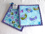 Purple Aqua Teapots Teacups Padded Potholders Pair of Hand Made Support Animal Charity