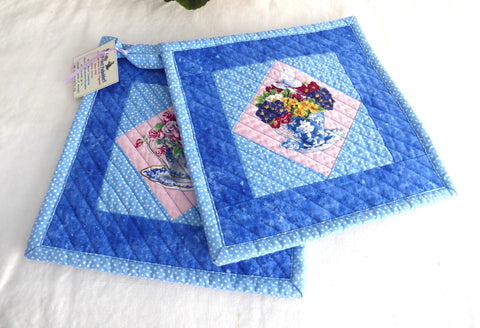 Pair of Padded Teacup Themed Potholders Blue Pink Hand Made Support Animal Charity