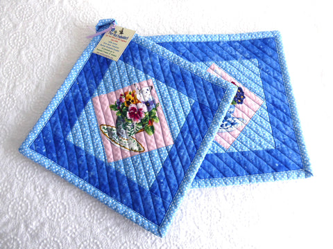 Potholders Pair Padded Teacup Themed Potholders Blue Pink Hand Made Support Animal Charity
