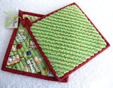 Padded Tea Themed Potholders Pair Green Rust Hand Made Support Animal Charity