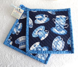 Blue Padded Teacups Potholders Pair of Hand Made Support Animal Charity