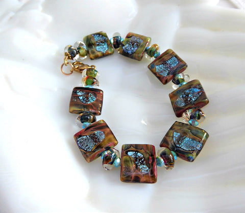 Art Glass Brown Turquoise Foil Tile Bracelet Artisan Glass Maker Square Size 7.5