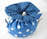 Tea Cozy Padded Blue White Daisies Reversible USA Handmade Cosy