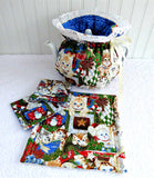 Christmas Kitties Tea Cozy Set Cosy Trivet 2 Mug Mats Gold Metallic Handmade Reversible
