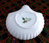 Christmas Dish With Handle Holly Design Porcelain Candy Lemon Dish 1960s