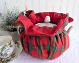 Christmas Colors Plaid Tea Cozy Padded Tea Cosy Gold Metallic Handmade Reversible
