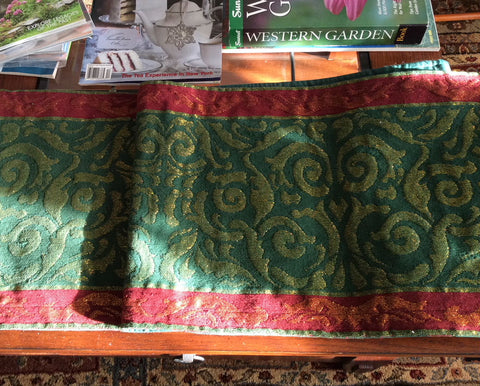 Luxe Metallic Tapestry Damask Fabric Table Runner Red Green Gold Crate And Barrel 72 Inches