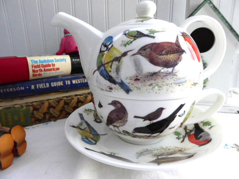 Garden Birds Tea For One Roy Kirkham Teapot Fitted Cup And Saucer Breakfast Cup Bone China