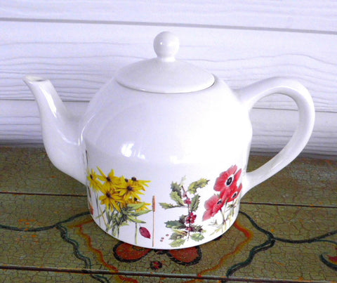 Marjolein Bastin Large Teapot Garden Flowers Signed Poppies Holly Daisies Tulips Daffodils