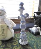Snow Buddies Stacker Tea Table Decor Snowman Family Blue And White Christmas Winter