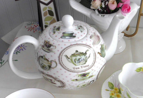 Boxed Tea Time Teapot Bone China Teapots Teacups Pink Polka Dots Large 40 Oz