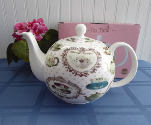 Hearts Teacups Tea Time Teapot Teacups Pink Polka Dots Large 40 Oz Boxed