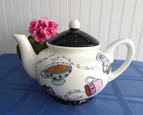 Time For Tea Teapot Large Bella Casa by Ganz Teacups Polka Dots 32 Ounces
