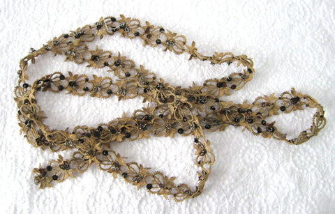 Beaded Tatted Lace Trim Antique Steel Cut Beads Tan Lace Dress Trim 1890s Mourning