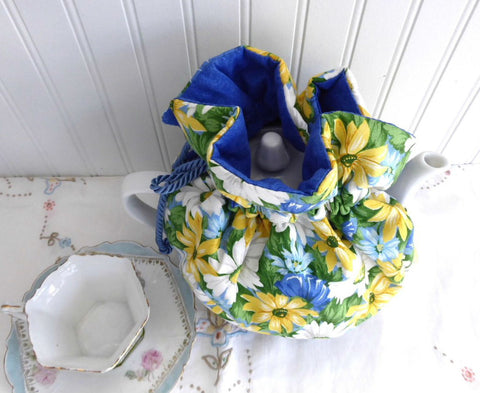 Tea Cozy Blue Yellow Daisies Padded Blue Cord And Blue lining USA Handmade