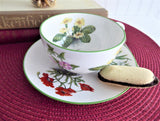 Botanical Cup And Saucer Breakfast Size Primrose Poppy Snowdrops Crown Trent