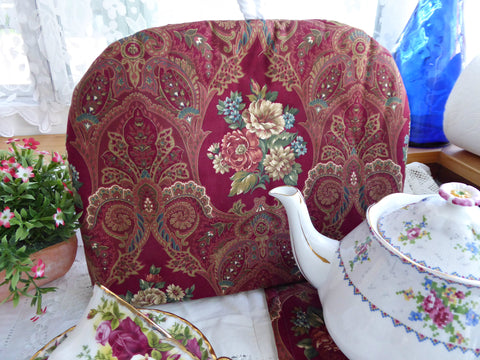 Tea Cozy Red Paisley Floral Padded US Artisan Made New With Trivet Cosy