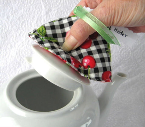 Teapot Lid Holder Padded Lid Knob Holder Cherries Green With Polka Dots