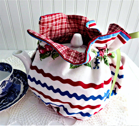 Tea Cozy Cherries Ric Rac Red Plaid USA Handmade Large Cosy Warmer