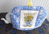 Tea Cozy Padded With Cross Stitch Teacups Blue White Yellow Artisan Made USA