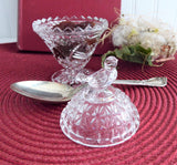 Lead Crystal Dish Bird Top Lid Jam Dish Waffle Pattern 1970s Faceted Glass Trinket Dish