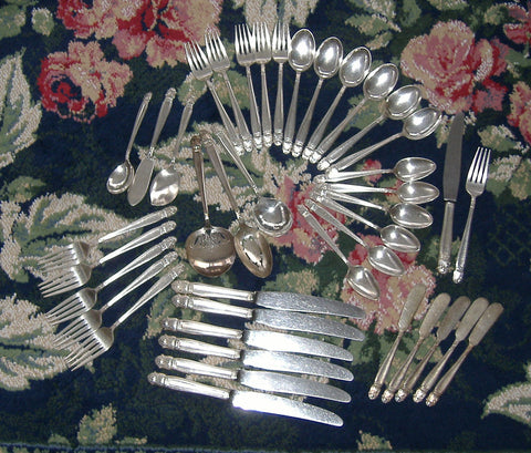 Danish Princess 1930s Flatware 41 Pieces Holmes And Edwards Scandanavian Design Silver Plate In Box