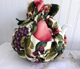 Fruit Tea Cozy Padded Green Cord And lining USA Handmade Berries Grapes Apples